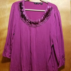Purple Long Sleeve Blouse with Satin Accents